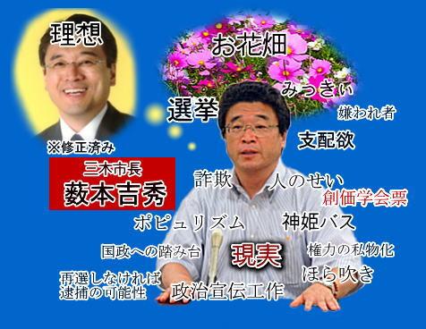 薮本吉秀 なんかこんな感じらしい。普通は地方自治体では与野党に分かれずに政治をやる...  播州